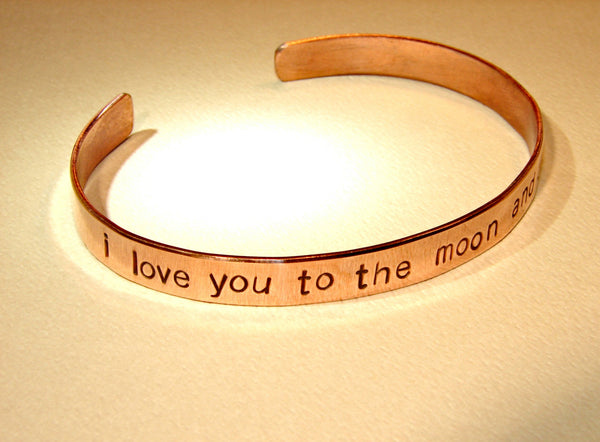 Copper cuff bracelet I love you to the moon and back, NiciArt