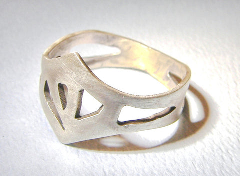 Sterling Silver King Ring Handmade in Crown Shape, NiciArt
