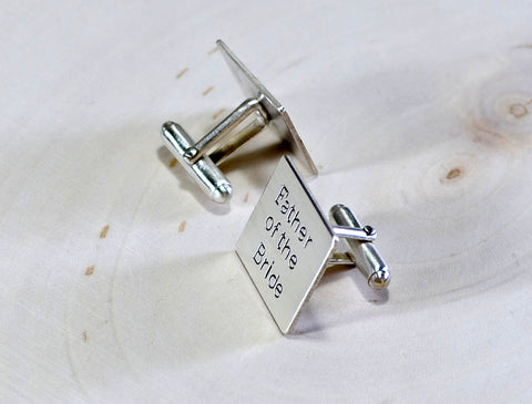 Square Father of the Bride sterling silver cuff links, NiciArt