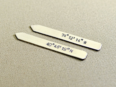 Sterling silver latitude longitude collar stays, NiciArt