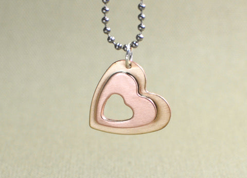 Heart charm pendant with a love window in copper and bronze, NiciArt