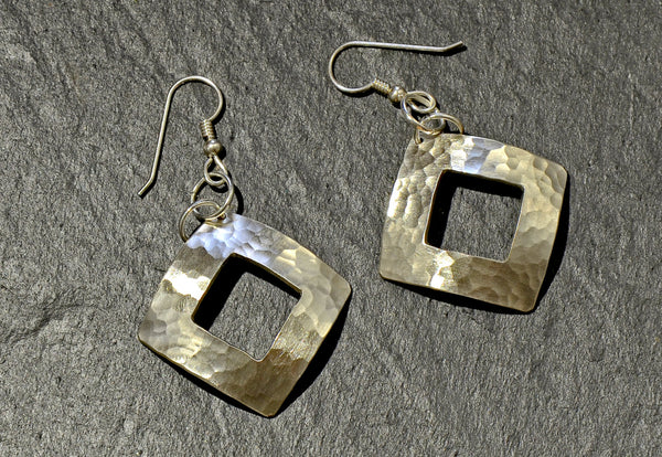 Hammered Square Sterling Silver Dangle Earrings with Window Cut Out