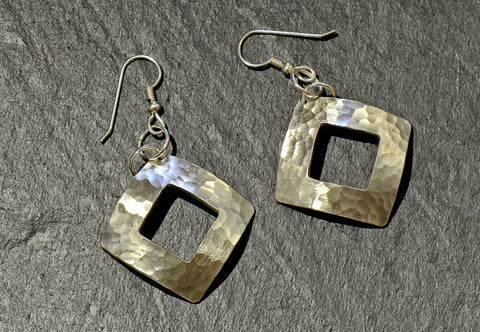 Hammered Square Sterling Silver Dangle Earrings with Window Cut Out, NiciArt