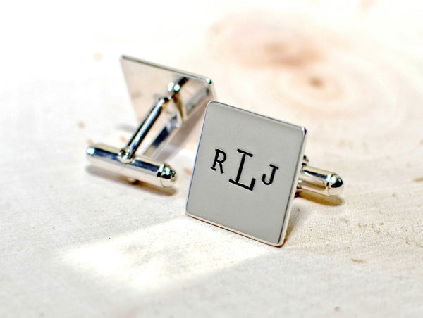 Sterling silver square cuff links with personalized monogram or customized