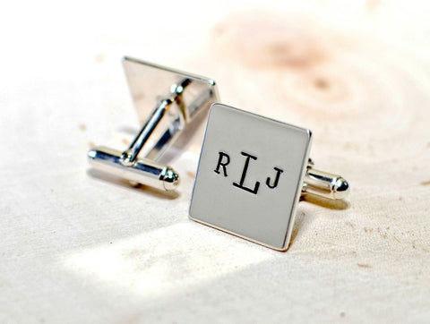Sterling silver square cuff links with personalized monogram or customized, NiciArt