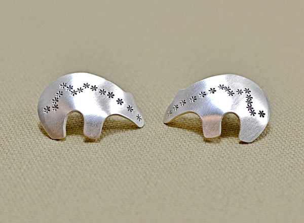 Sterling silver spirit bear stud earrings