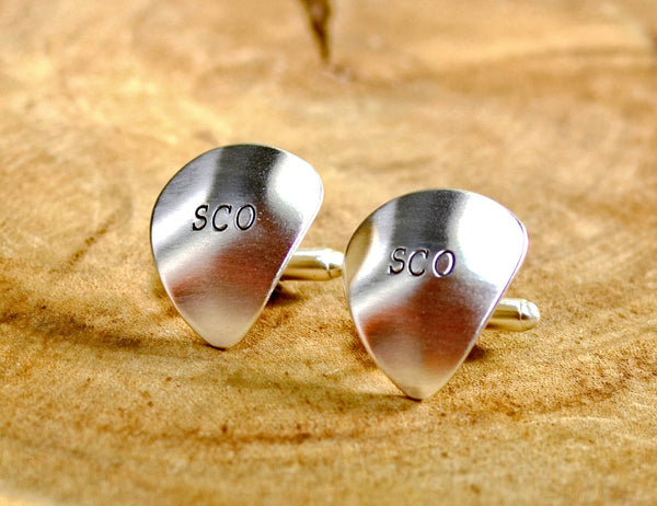Sterling silver guitar pick cuff links personalized