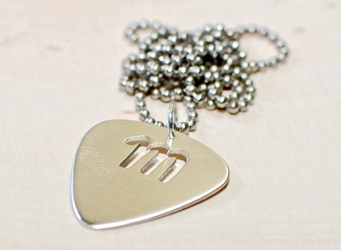 Sterling Silver Necklace with Personalized Guitar Pick and Letter Cut Out, NiciArt