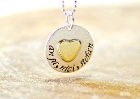 Personalized sterling silver charm pendant with brass heart, NiciArt