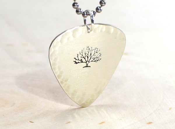 The big tree sterling silver guitar pick necklace