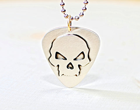 Sterling silver guitar pick with skull, NiciArt
