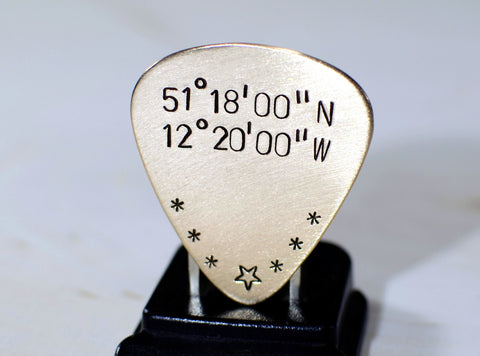 Guitar Pick in Bronze with Latitude and Longitude
