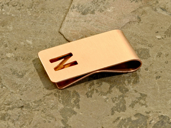 Copper money clip with personalized cut out initial, NiciArt