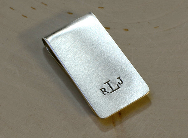 Monogrammed Sterling Silver Money Clip Personalized