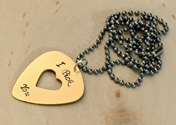 I pick you guitar pick necklace in bronze with heart
