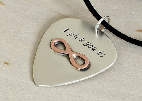 Sterling Silver Guitar Pick Necklace with Copper Infinity and I Pick You, NiciArt