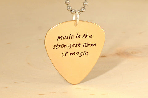 Music is the strongest form of magic bronze guitar pick necklace, NiciArt