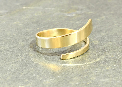 Solid 14K Yellow Gold Dainty Bypass Ring, NiciArt