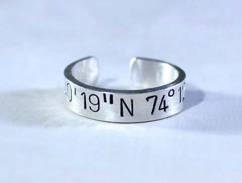 Latitude longitude sterling silver ring for you to personalize, NiciArt
