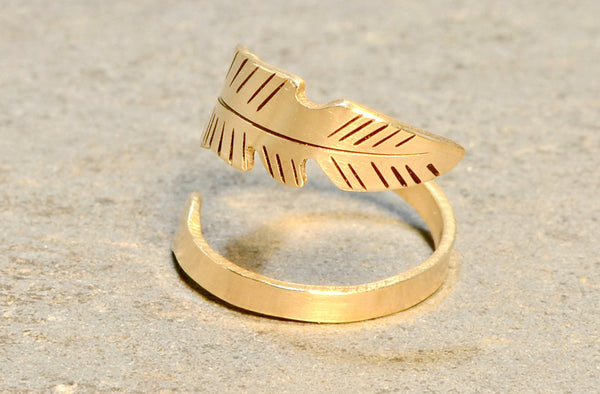 Feather Shaped Bronze Bypass Ring