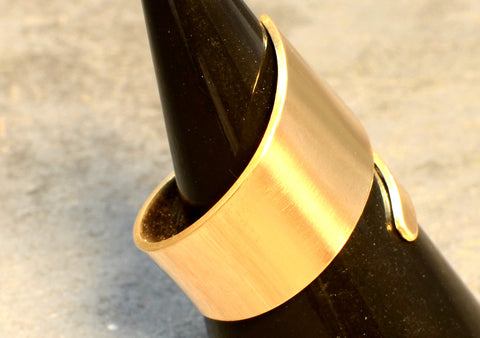 Bronze Bypass Ring with Sleek Modern Styling and Golden Shine, NiciArt