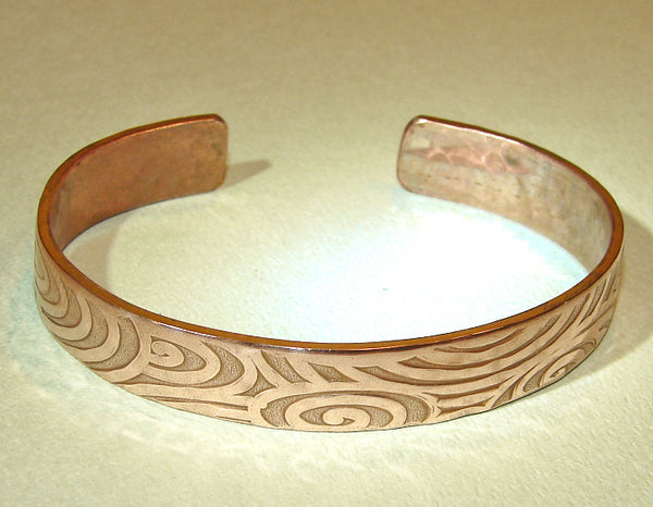 Copper cuff bracelet with hammered swirl design, NiciArt