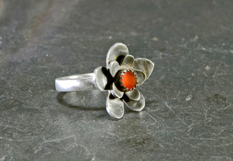 Sterling silver flower ring with red coral stone, NiciArt