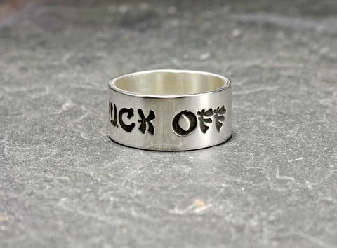 Fuck off sterling silver ring in Geisha Font