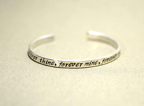 Forever thine forever mine forever ours sterling silver cuff bracelet, NiciArt