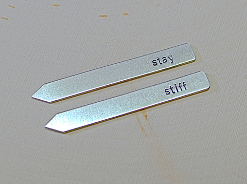 Sterling silver stay stiff collar stays handstamped and personalized for any occasion, NiciArt