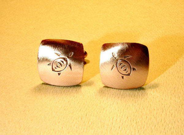 Copper sea turtle cuff links handmade, NiciArt