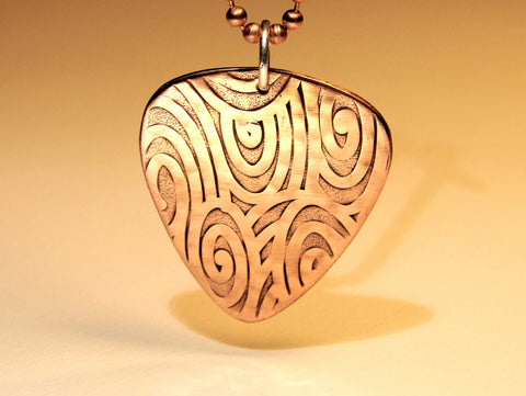 Swirling waves copper guitar pick pendant, NiciArt