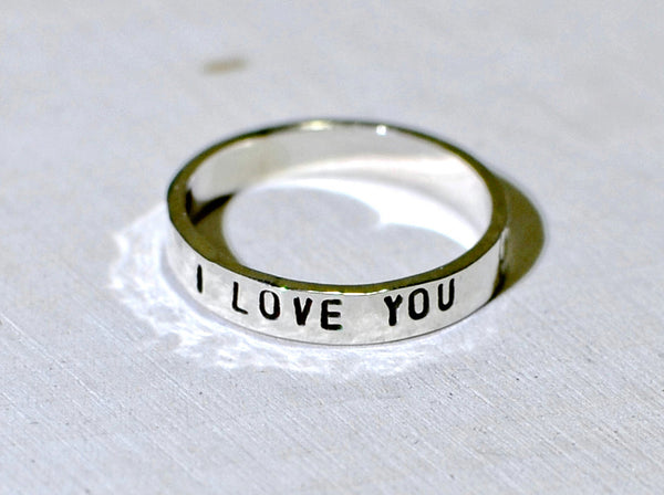 Sterling silver I love you stacking ring