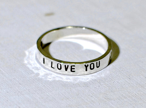 Sterling silver I love you stacking ring, NiciArt