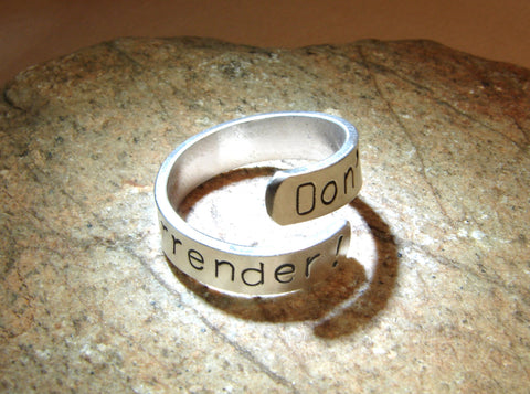 Sterling silver Dont surrender bypass ring, NiciArt