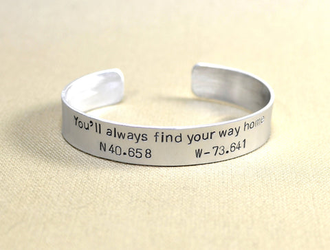 Latitude longitude aluminum cuff bracelet for finding your way, NiciArt