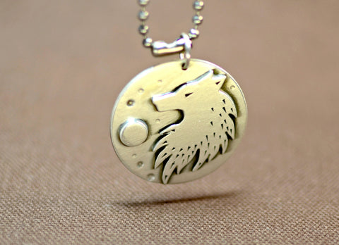 Sterling silver wild wolf under full moon necklace, NiciArt