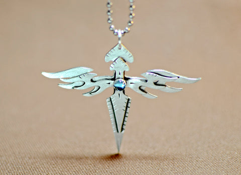Sterling silver double angle wings sterling cross with blue topaz, NiciArt