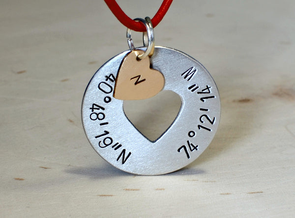Latitude longitude necklace with aluminum disc and monogram heart charm
