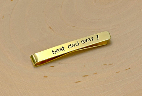 Brass Tie Bar for the Best Dad Ever, NiciArt