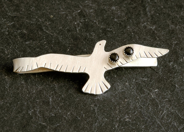 Sterling Silver Bird Tie Bar with Black Onyx
