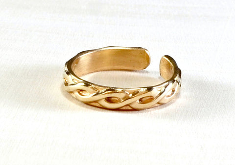 Gold filled braided toe ring, NiciArt
