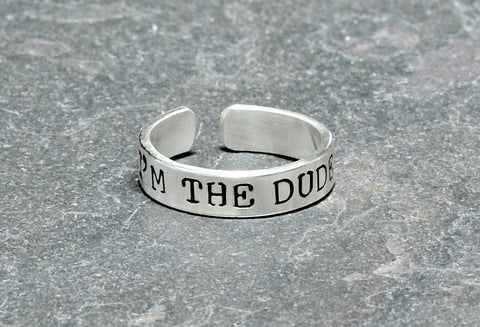 Men's I am the dude sterling silver toe ring, NiciArt