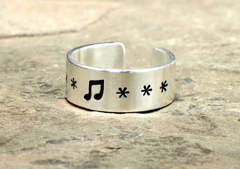 Sterling Silver Toe or Adjustable Ring with Music Note, NiciArt