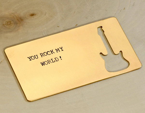 Bronze Wallet Insert Stamped with You Rock My World and a Guitar, NiciArt