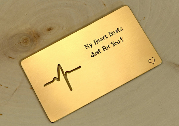 My Heart Beats Just for You Bronze Wallet Insert