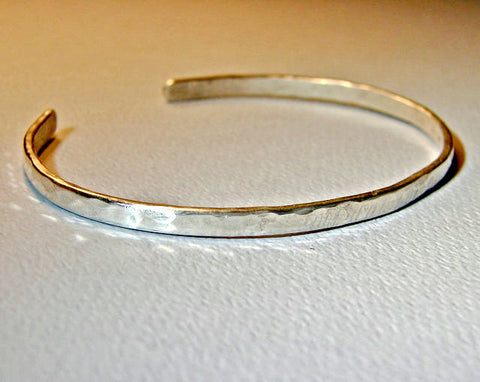 Sterling silver cuff bracelet forged from heavy gauge round wire, NiciArt