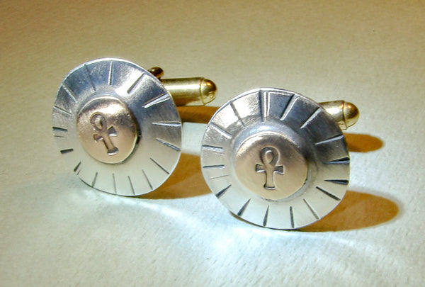 Cuff links with sterling silver on bronze with ankhs