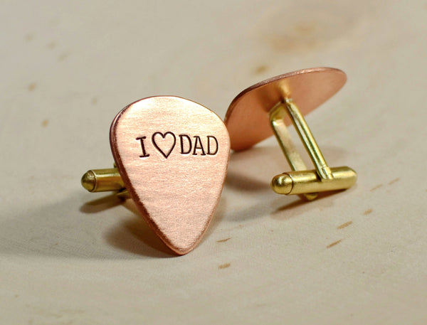 Guitar pick copper cuff links for new dads and Fathers Day