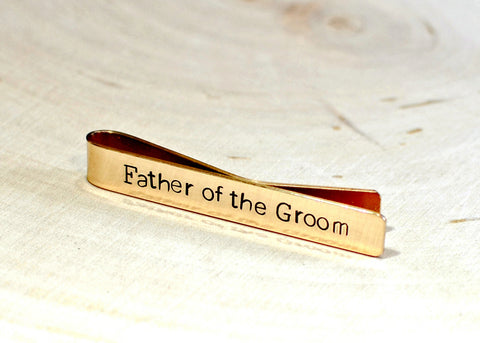 Bronze father of the groom tie bar, NiciArt